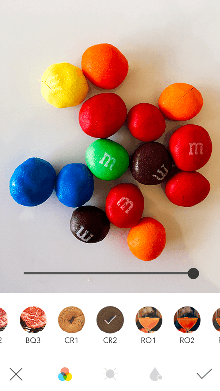 M&Ms after being edited on Foodie photo editing app