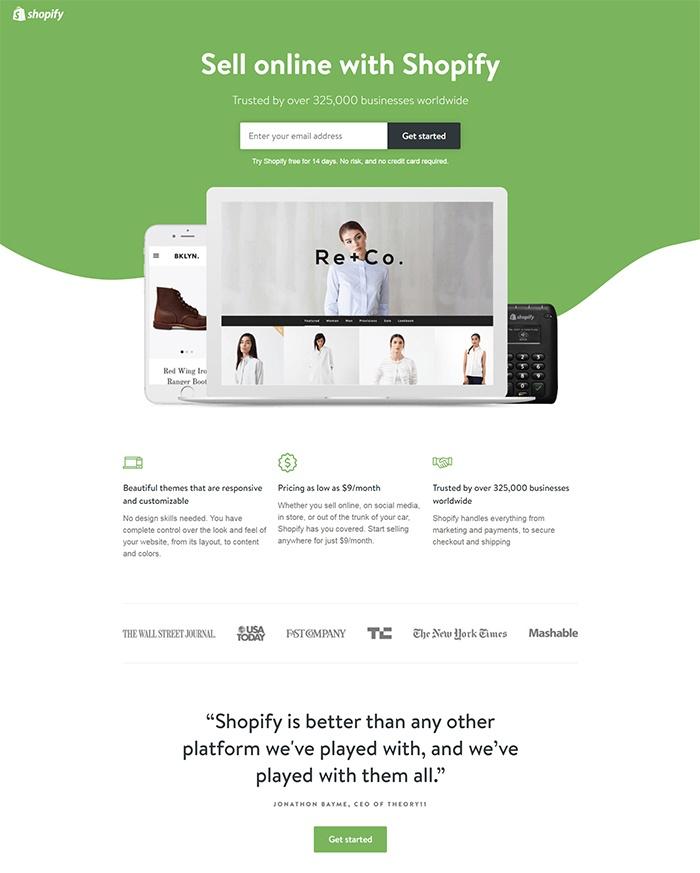 Beispiele für ansprechendes Landing-Page-Design – Shopify