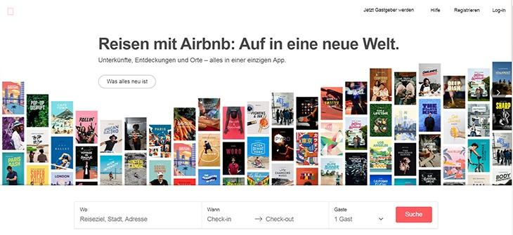 Beispiele von gutem Homepage-Design - Airbnb