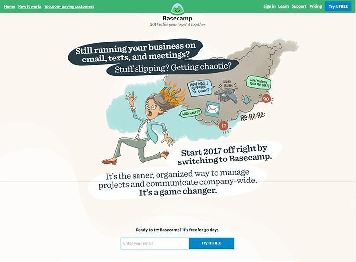 Beispiele von gutem Homepage-Design - Basecamp