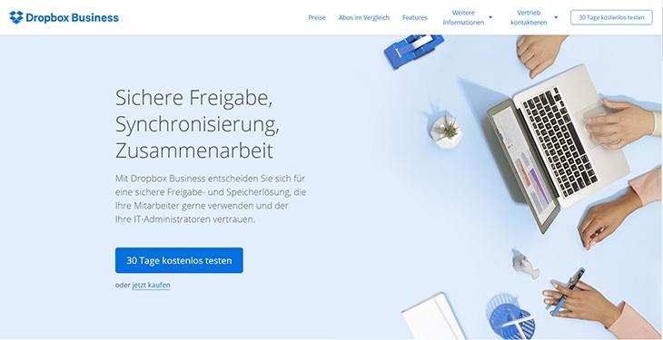 Beispiele von gutem Homepage-Design - Dropbox-Business