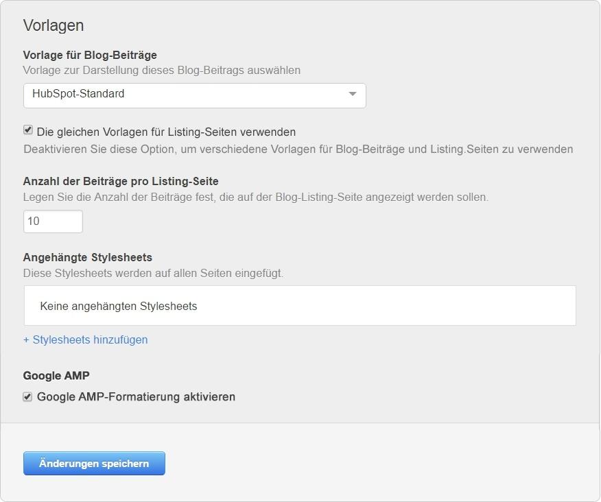 Google AMP Option in der HubSpot-Software