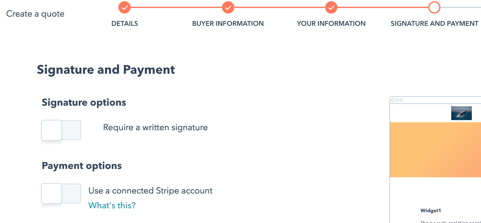 signature and payment