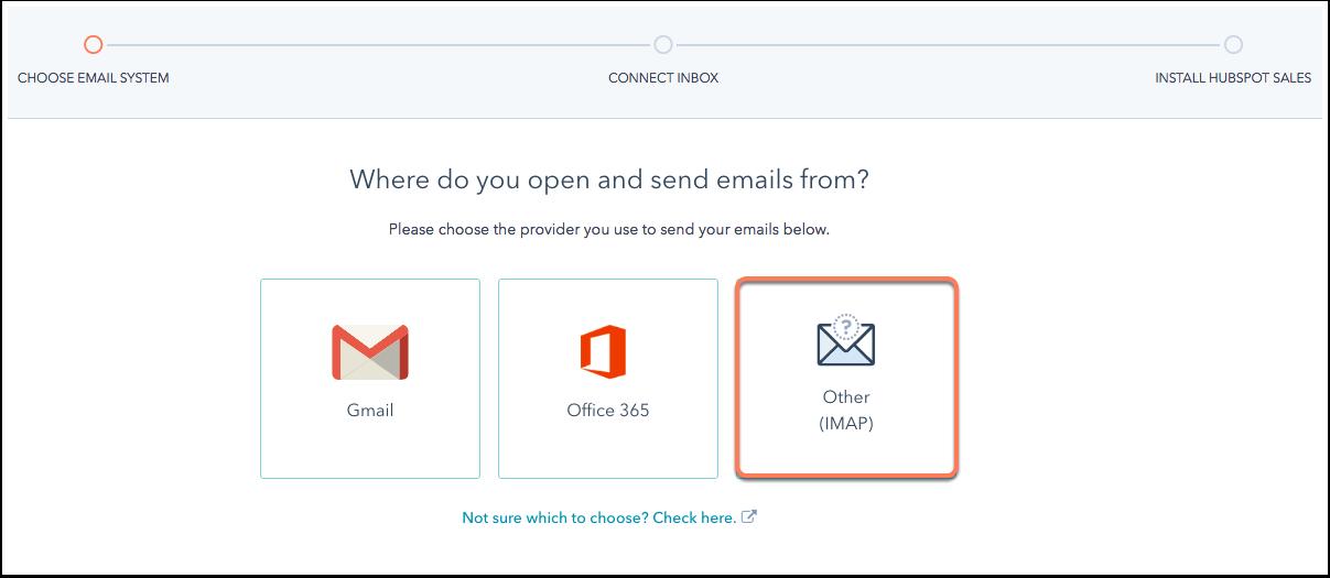 Wählen Sie die Art von E-Mail-Konto, die verknüpft werden soll