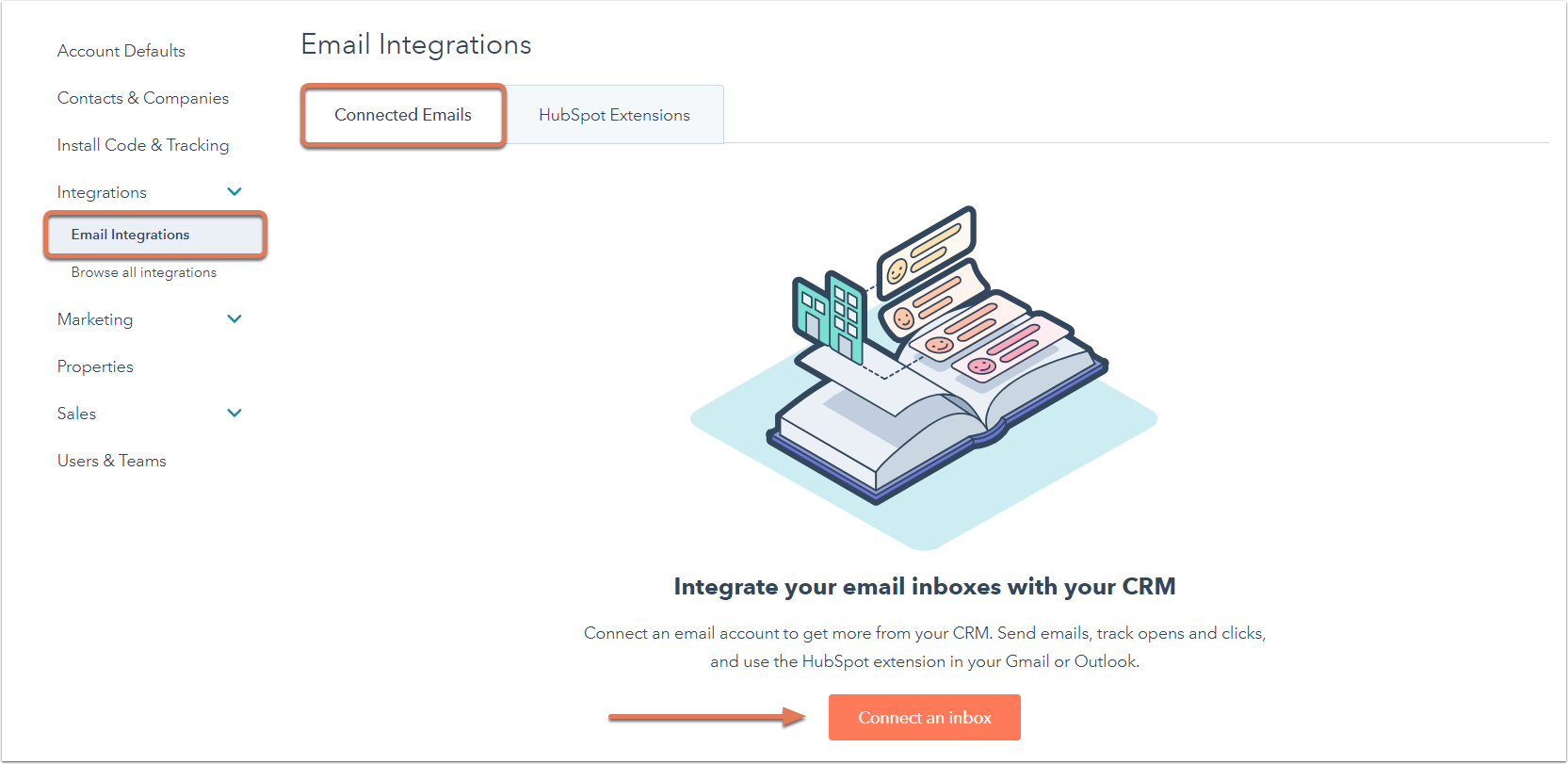 Die Einstellungen zu E-Mail-Integrationen in HubSpot.