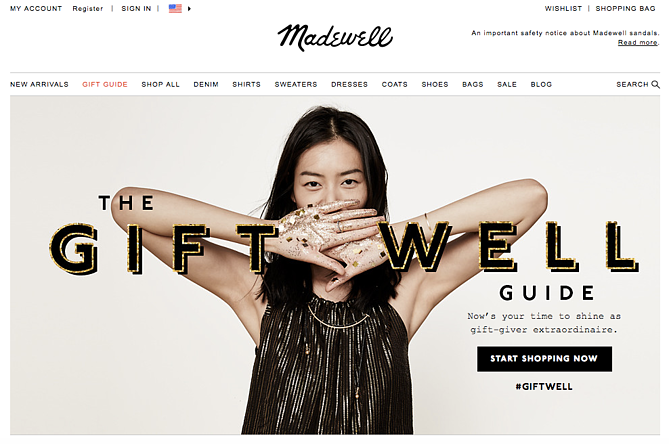 Madewell holiday homepage