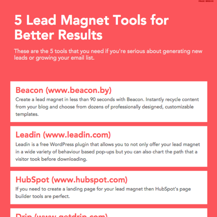 Lead magnet idea for a resource guide