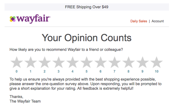 wayfair feedback email