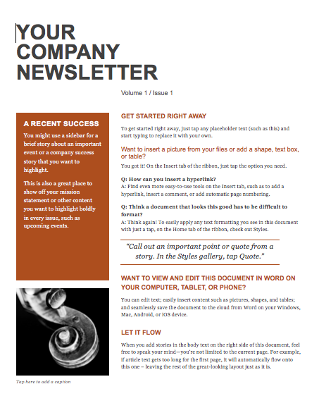 Company Newsletter Templates