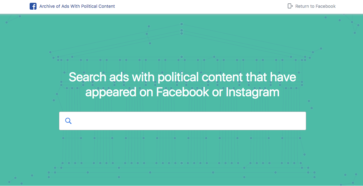 Facebook archive of ads with political content