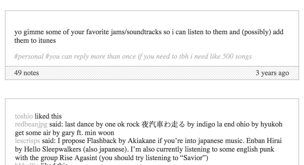 Tumblr music recommendation thread
