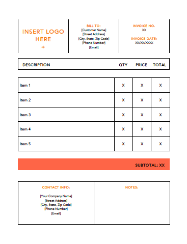 Invoice Template Example