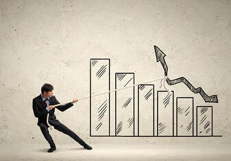 Image of young businessman pulling graph. Chart growth concept-3