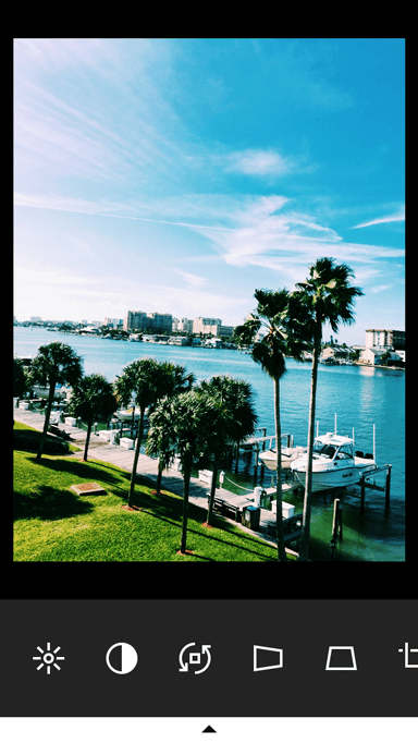 After picture of tropical scenery on VSCO photo editing app