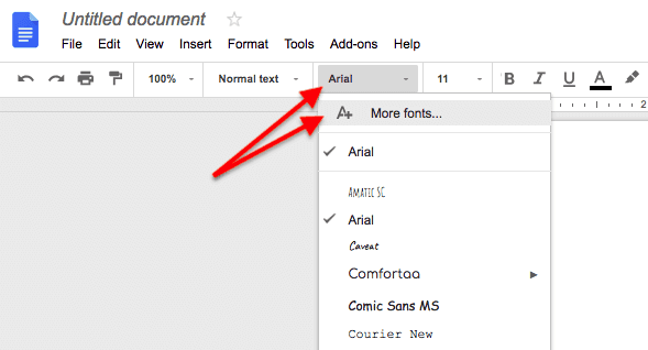 Add fonts option in a Google Doc