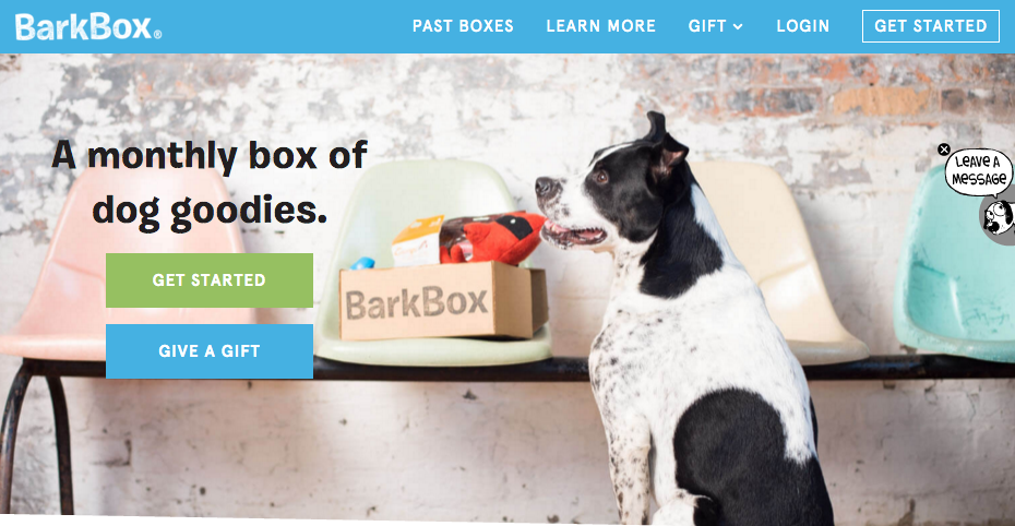 Barkbox call to action buttons