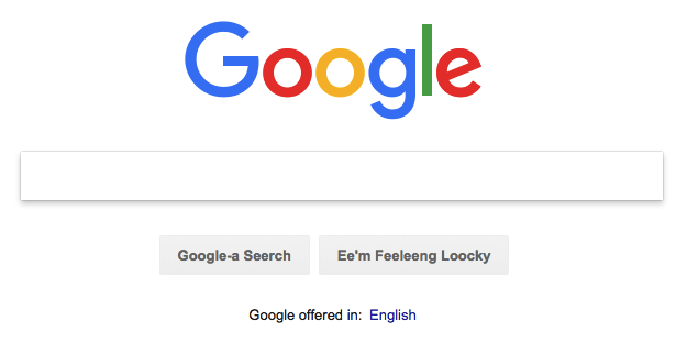 Bork, bork, bork! language setting in Google