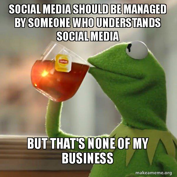 But that's none of my business meme starring Kermit the Frog and a social media caption