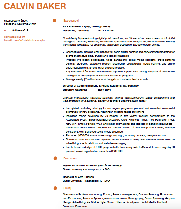 calvin baker resume sample 2pngnoresize - Professional Marketing Resume