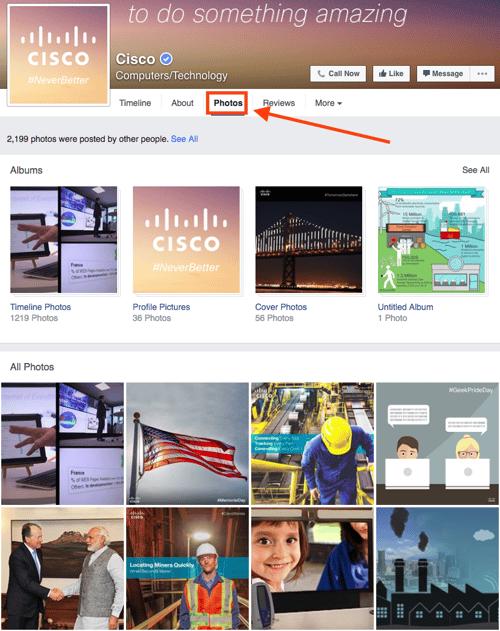 Cisco Facebook photos tab.
