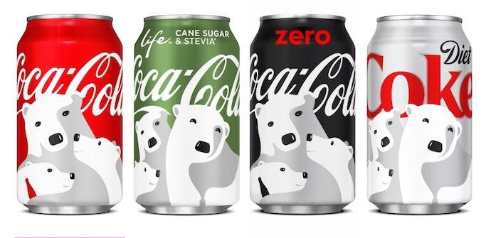 Coca-Cola's logo design with versatile placement on four different colored cans.