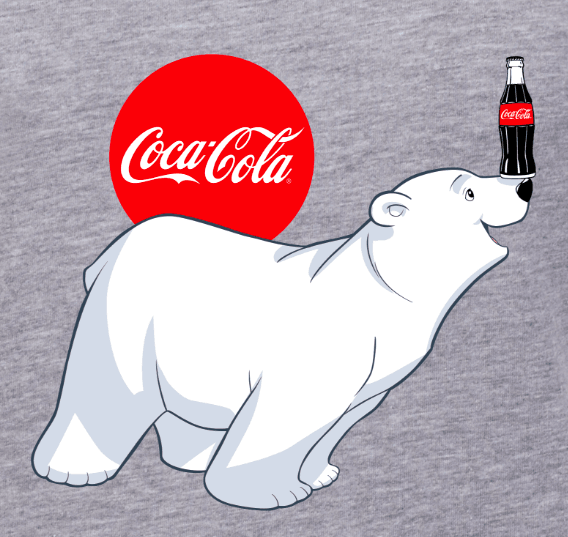 Coca-Cola logo design with polar bear on grey background