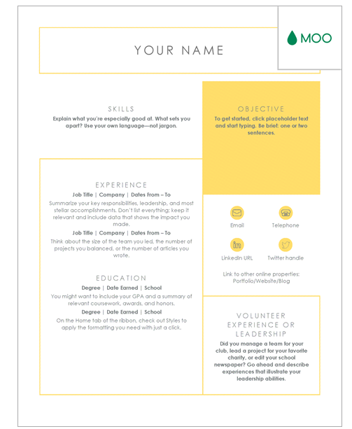 resume templates for beginners