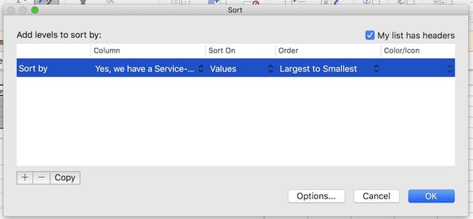 Sort window in Excel