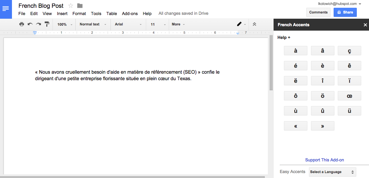 how to add an accent in google docs