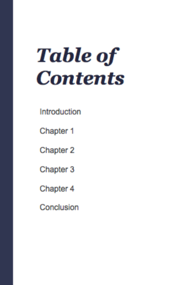 ebook template showing the table of contents for a writer's style guide