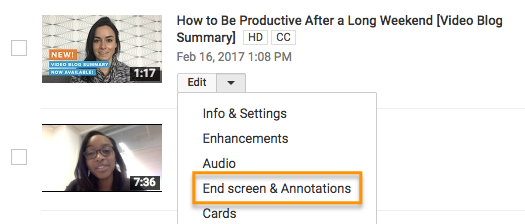 YouTube end screen call to action.