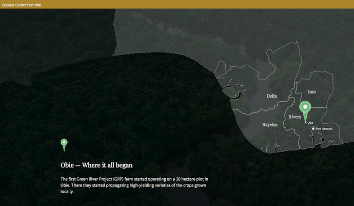 Native advertising example from Eni Energy on the Green River Project in the Niger Delta