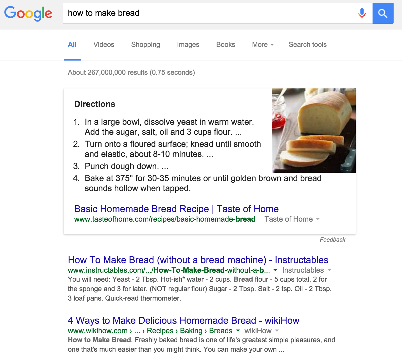 Featured Snippet: how to make bread
