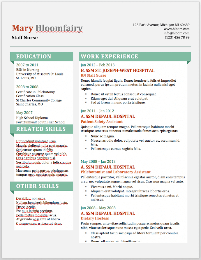 Info Pop resume template for MS Word