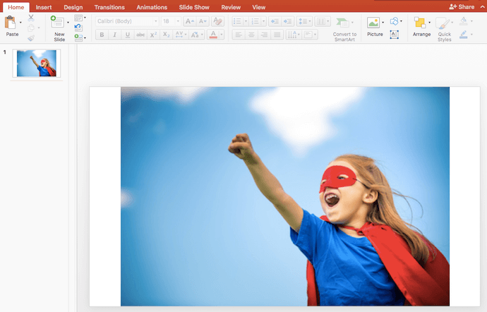 Insert image into PowerPoint slide