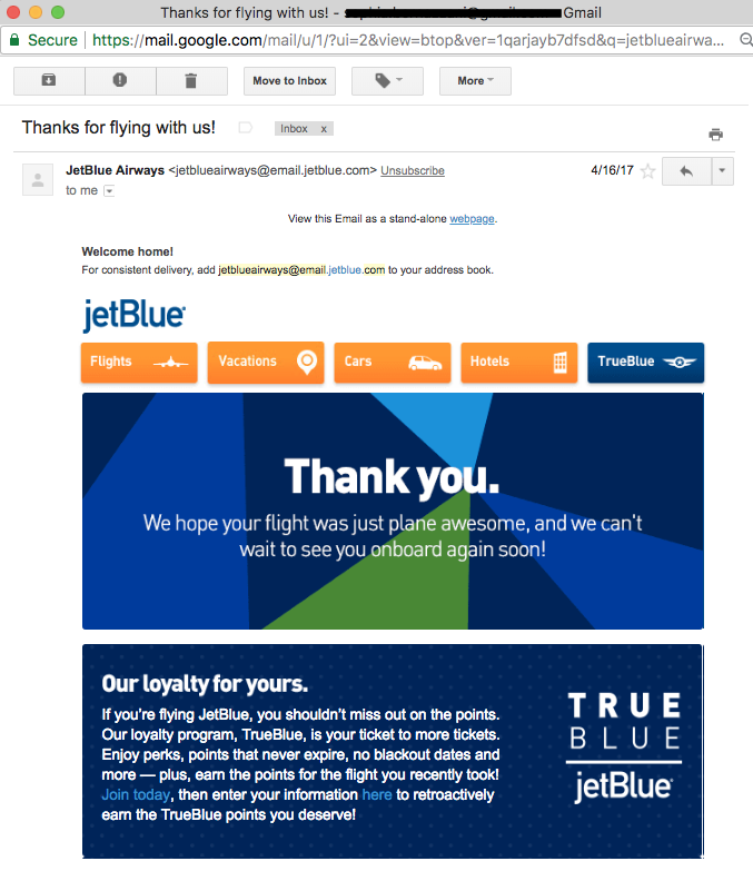 jetblue thank you letter