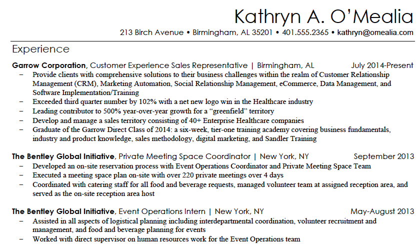 kathryn resume sample 1png - Marketing Resume Template