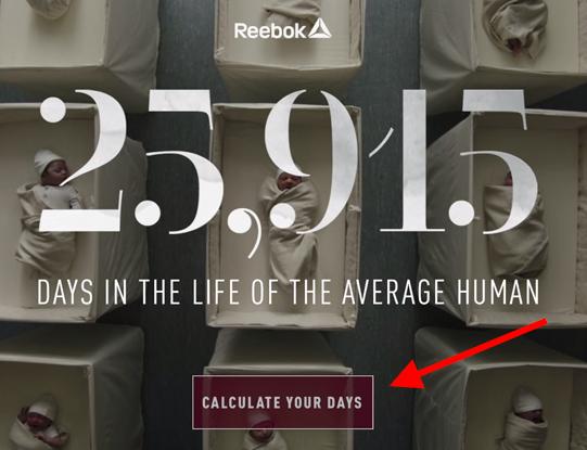 Gráfico de la campaña de video marketing de Reebok llamado 25,915 días