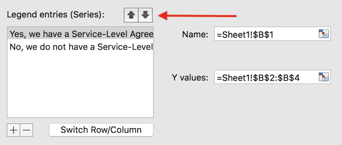 Reorder data options window in Excel
