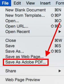 word document into a pdf by choosing file save as adobe pdf