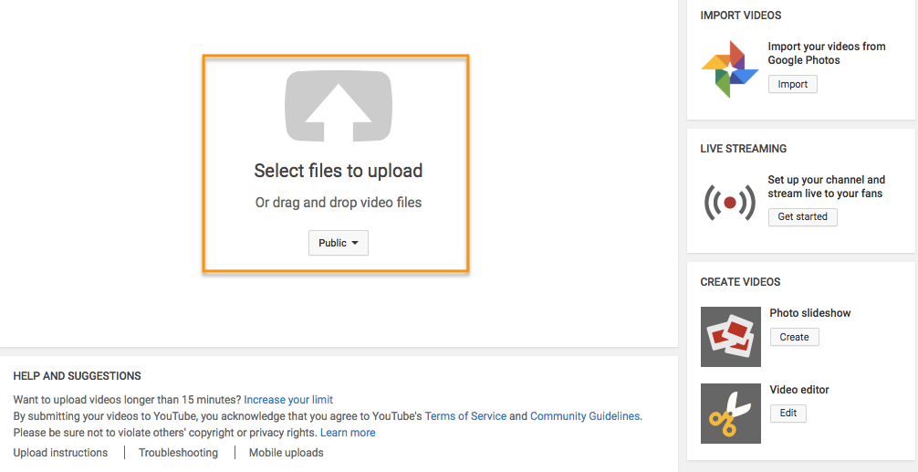 YouTube creator's page prompt to select files to upload