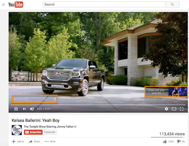 """Preroll ad on YouTube with """"non-skippable"""" features highlighted in the video"""