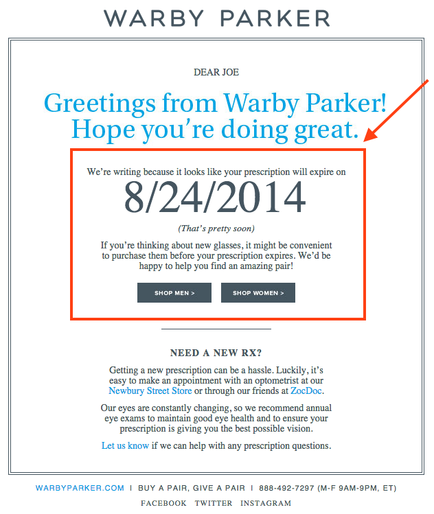 How to write a marketing email 10 tips for writing compelling email warby parker personalized emailg fandeluxe Images