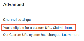 how to change custom url youtube for video