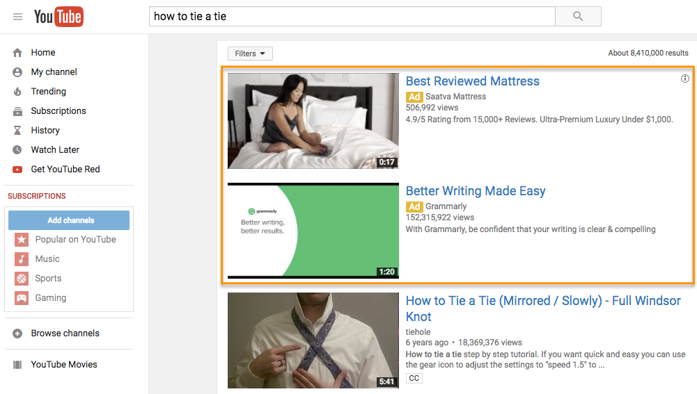Two TrueView Video Discovery Ads in a YouTube search result