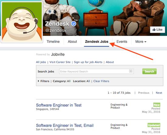 Zendesk Facebook jobs tab.