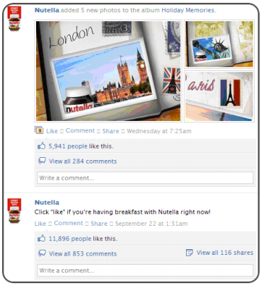 Nutella posts cool images on their facebook page.