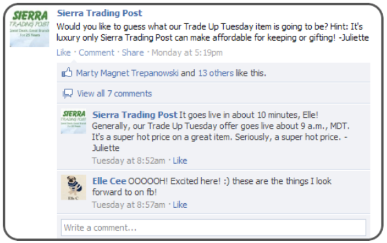 Sierra Trading Post teases their Facebook fans with new deals.
