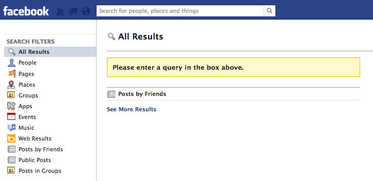 the facebook search page