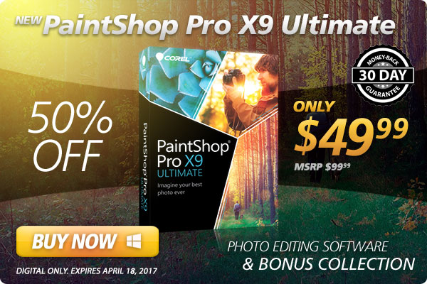 NEW PaintShop Pro X9 Ultimate - 30 Day Money Back Guarantee - ONLY $49.99